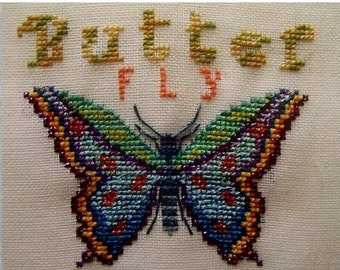50%OFF Turquoise Graphics & Designs BUTTERFLY BUTTER Fly Bug Insect - Counted Cross Stitch Pattern Chart