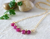 14k solid gold : Natural untreated ruby petite pendant necklace