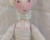 Soft doll,  OOAK art doll, jointed, handmade, handsewn, handpainted, white, romantic cloth doll, fabric doll