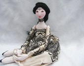 Valentine's OOAK soft doll. Handmade Soft Sculpture Fabric Art Doll gold  handsewn handpainted cloth doll