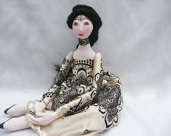 Spring OOAK soft doll. Handmade Soft Sculpture Fabric Art Doll gold  handsewn handpainted cloth doll