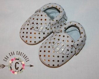 SALE WOW! Champagne Pop  100% genuine leather baby moccasins Mocs moccs top quality, first birthday,