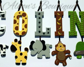 4 LETTER NAME -Individually Hanging Block Letters with adorable hanging shapes/animals jungle zoo safari Any Theme