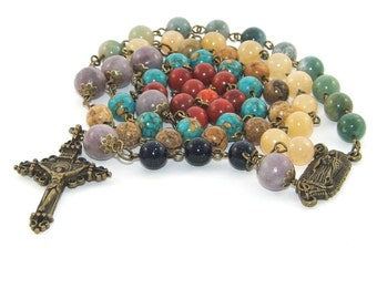 Mixed Gemstone Bead Rosary, Our Lady of Guadalupe Center