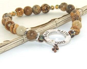 Faith Bracelet, Jasper Beads & Tiny Cross