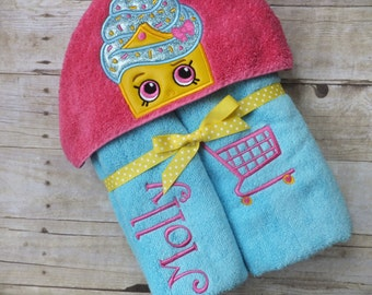 Shopkins Inspired Cupcake Hooded Towel Wrap Deluxe Version