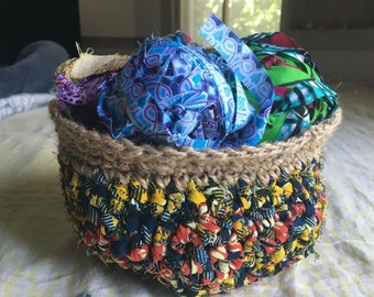 Crocheted Baskets from Twine and Bright African Fabrics