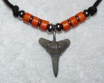 Fossil lemon shark tooth necklace with orange beads and adjustable cord  02