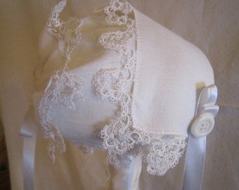 White Handkerchief Bonnet with Tatted Edge