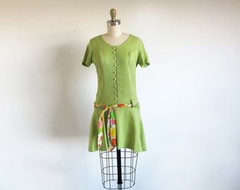 Vintage Green Dress, 60s Mod Dress, 1960 Mini Dress, Lime Green Dress, Drop Waist, Sweet Sixties