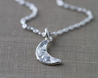Silver Moon Necklace Handmade, Sterling Silver Necklace, Gift for Women, Gift for Her, Silver Jewelry, Womens Jewelry Gift
