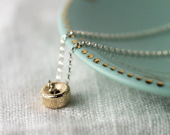 Glittering Gold and Silver Necklace - 14K Gold Filled Sparkly Bead on Sterling Silver Chain - Simple Necklace