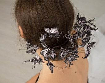 Dark Grey Pink Butterflies Comb Wholesale Hair Accessory Decoration Butterflies Crown Birthday Bridal Wedding Hair Vines Comb Prom Hair Gift