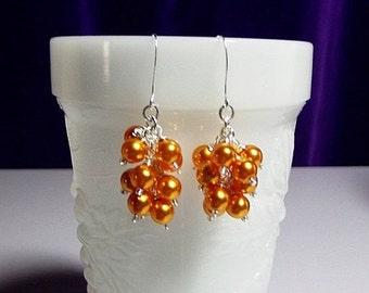 30% Off SALE thru Mon Orange Pearl Cluster Earrings, Mom Sister Grandmother Wedding Bridesmaid  Christmas Jewelry