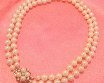 Vintage Multi Strand Hand Knotted White Glass Pearl Necklace