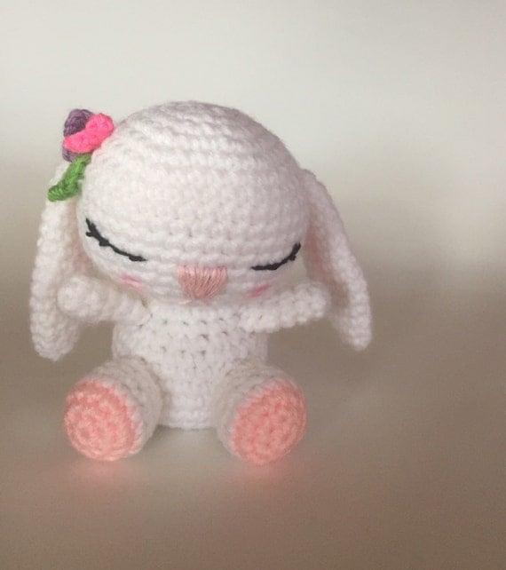 Amigurumi Sleeping Bunny : Sleepy Bunny Made to Order Crocheted Doll Amigurumi