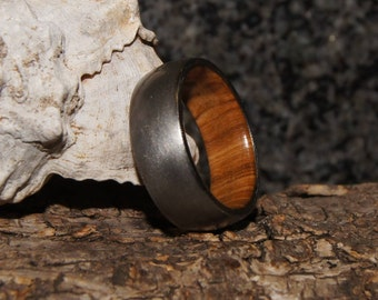 Wood Ring Size 9 - Olive wood and stainless steel ring, inner Wood sleeve