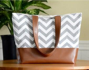 Large Tote Bag, Vegan Leather Tote Bag, Gray Chevron Diaper Bag, Leather Shoulder Bag, Teacher Bag, Woman's Gift