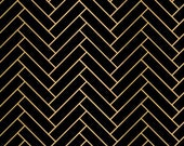 Black and Gold Fabric - Black Fabric - Herringbone Fabric - Gold Fabric - Metallic Fabric - By the Yard - Quilting -  Sewing - Textiles