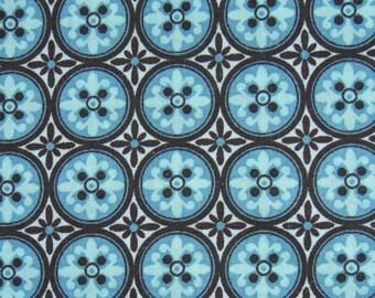 Geometric Print -  Circle Fabric - Blue Fabric - Cottage Fabric - Quilting Fabric - Cotton Fabric - 34 inches  Remnant
