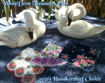 1950 VINTAGE HANDKERCHIEF - Floral Choice Burmel Linen Cotton Delicate Lady Wedding Bridal Church Rose Violet Bouquet Dark Blue - Gift Box