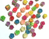 25 Fimo Polymer Clay Red Blue White Yellow Fuschia Pink White Flower Fimo Beads 11mm