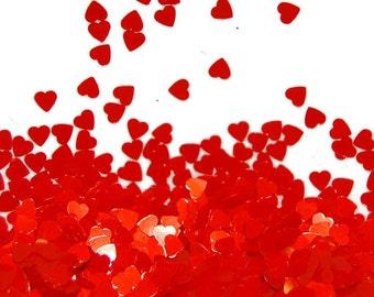Tangerine SOLVENT RESISTANT Glitter HEARTS- 1 Fl. Ounce for Glitter Nail Art, Glitter Nail Polish & Glitter Crafts
