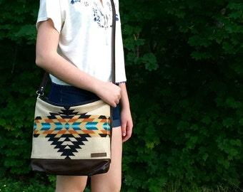 North by Northwest Crossbody Messenger Purse // Tribal Tan Turquoise Pendleton Wool Leather // Rosebud Originals