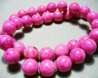 Fossil Gemstone Pink Round Beads 8mm