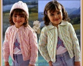 PDF Knitting Pattern for Aran Cardigans to fit Chest sizes 20 to 32 Inches - Instant Download