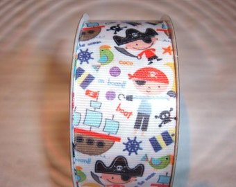 """1 New Roll of Children's Pirate Themed  Grosgrain Ribbon -3 Yards  x 1 1/2"""""""