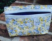 Quilted yellow blue flowered pouch