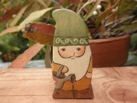 WOOD TOY GNOME Figure-No.1-Gardener-Watering Can-Pretend Play-Waldorf Inspired