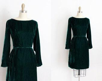 vintage 1960s dress // 60s green velvet wiggle dress