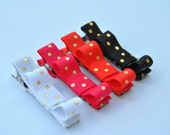 Baby Hair clips, Infant hair clips, Toddler hair clips, Tuxedo Clips, Set of 4 hair clips, White-Gold Dots-Hot Pink-Coral Orange-Black