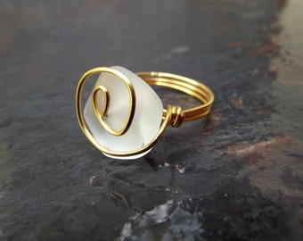Sea Glass Ring:  White Beach Glass Ring, Gold Spiral Ring, Modern Nautical Ocean Wedding Jewelry, Maid of Honor Gift, Mother's Day