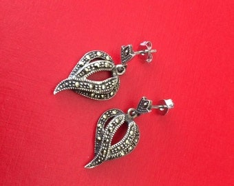 Elegant Sterling Silver and Marcasite Pierced Post and Dangle Earrings
