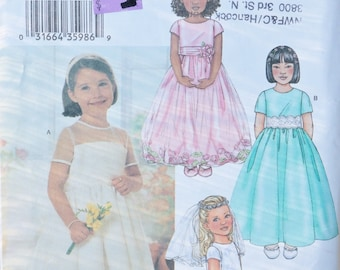 Pattern Childs Long Dress First Communion Flower Girl Veil Drindl Skirt Short Sleeve Butterick 3702 uncut