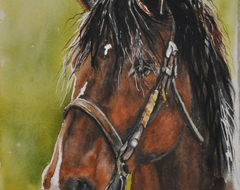 Western art Horse painting - Watercolor cowboy art, equestrian original watercolor on paper