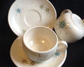 6 Franciscan Starburst Cups & Saucers.  Hollywood Regency, Sputnik, Mid century modern, Danish Modern, Eames era. Vintage 1950