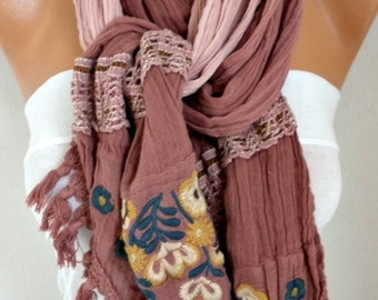 Milky Brown Ombre Embroidered Scarf,Fall Scarf,Christmas Gift Winter Scarf Shawl Cowl Scarf Gift Ideas for Her Women Fashion Accessories