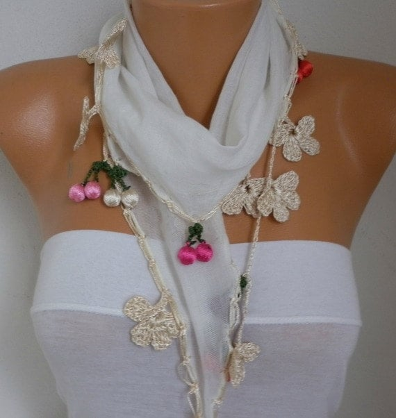 Creamy White & Lilac Cotton Scarf, Spring Summer Scarf, Cowl Scarf, Necklace, Gift Ideas For Her, Women' Fashion Accessories