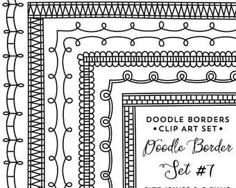 Doodle Frame Clipart, Frames Clip Art Instant Digital Download, Commercial Use