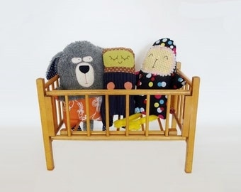 Vintage Doll Bed Made of Wood Folding