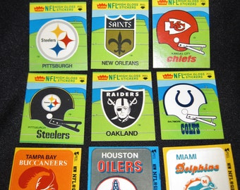 Vintage Fleer NFL Hi-Gloss Stickers/Patches 1980-81 Team Schedules Lot of 10