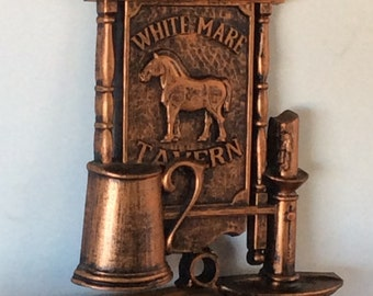 Vintage Dart Industries Coppercraft Guild Horse Plaque / Tavern Sign / White Mare Tavern Plastic Iron Look Wall Art