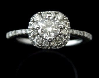 Estate Diamonds 14k White Gold Halo Engagement Promise Ring Bridal Wedding LAYAWAY AVAILABLE