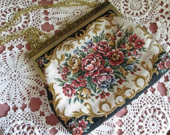 Floral Tapestry Evening Bag    Chain Handle    Vintage Wedding Accessory