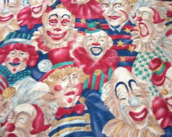 Clowns Clowns & More Clowns Fabric Colorful Rare and  Hard To Find BTFQ By The Fat Quarter