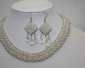 Dazzling Crystal Collar Necklace and Earring Set - Handmade Original - Formal